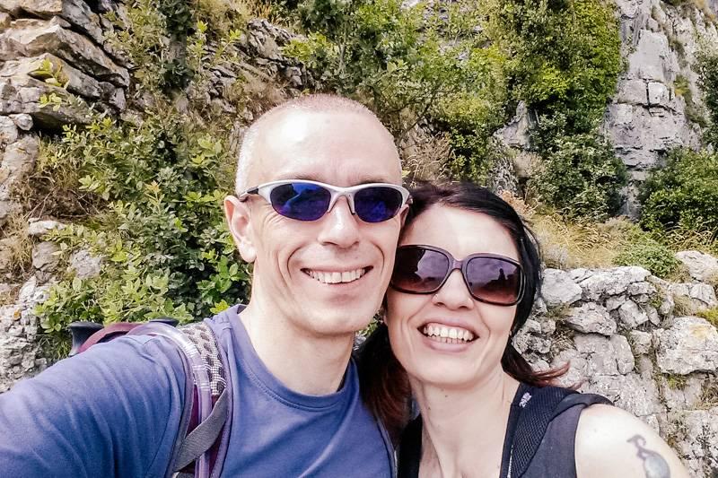 Smiling couple hiking Sentiero degli Dei