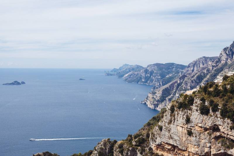 View of the Amalfi Coastline while hiking Sentiero degli Dei