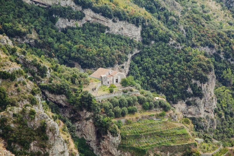 Small church on a hillside, among lemon groves
