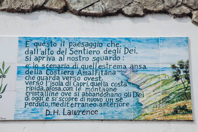 Sentiero degli Dei, painted wall signs. Words by DH Lawrence