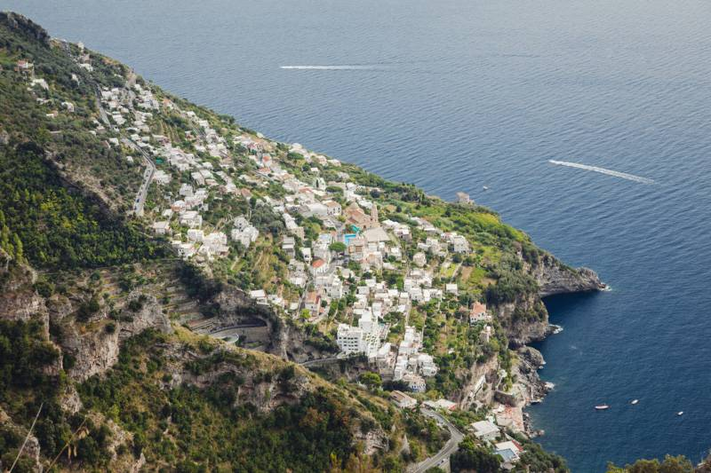 View of a village looking over the sea. Amalfi coastline, Italy