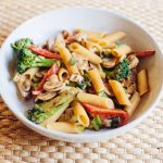 Vegan pasta with peanut sauce