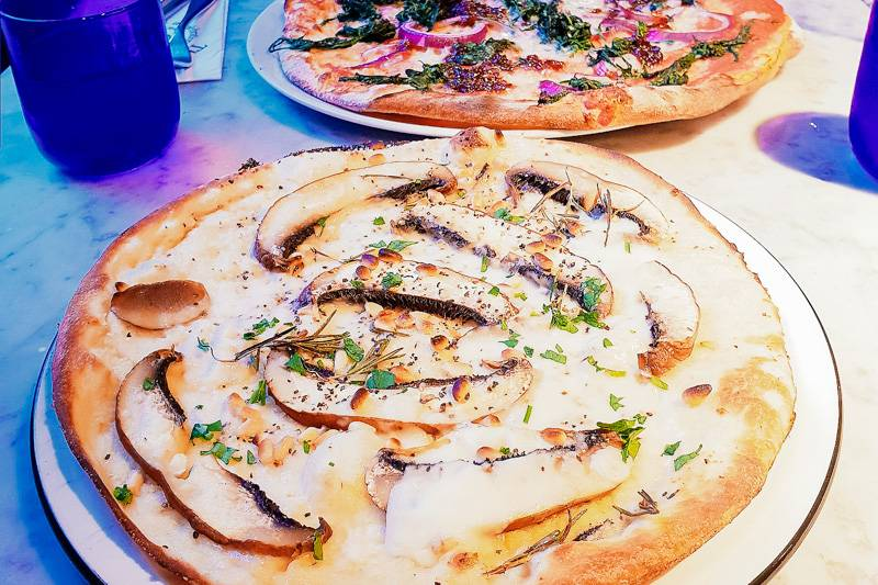 Vegan mushroom and pine nut pizza