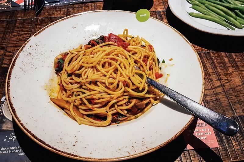 A bowl of vegan spaghetti pomodoro at Zizzi
