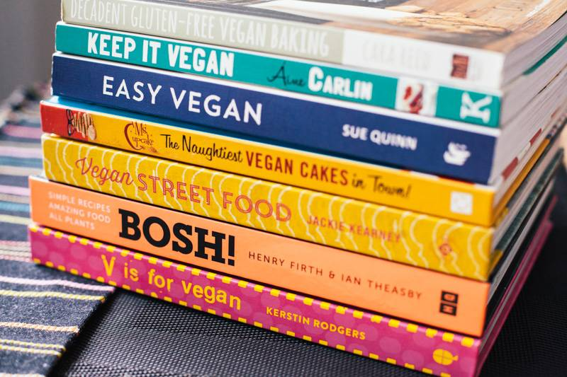 A selection of vegan cook books
