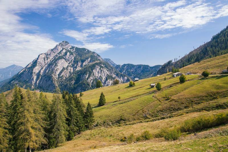 Countryside view of mountains and trees in Postalm, Austria