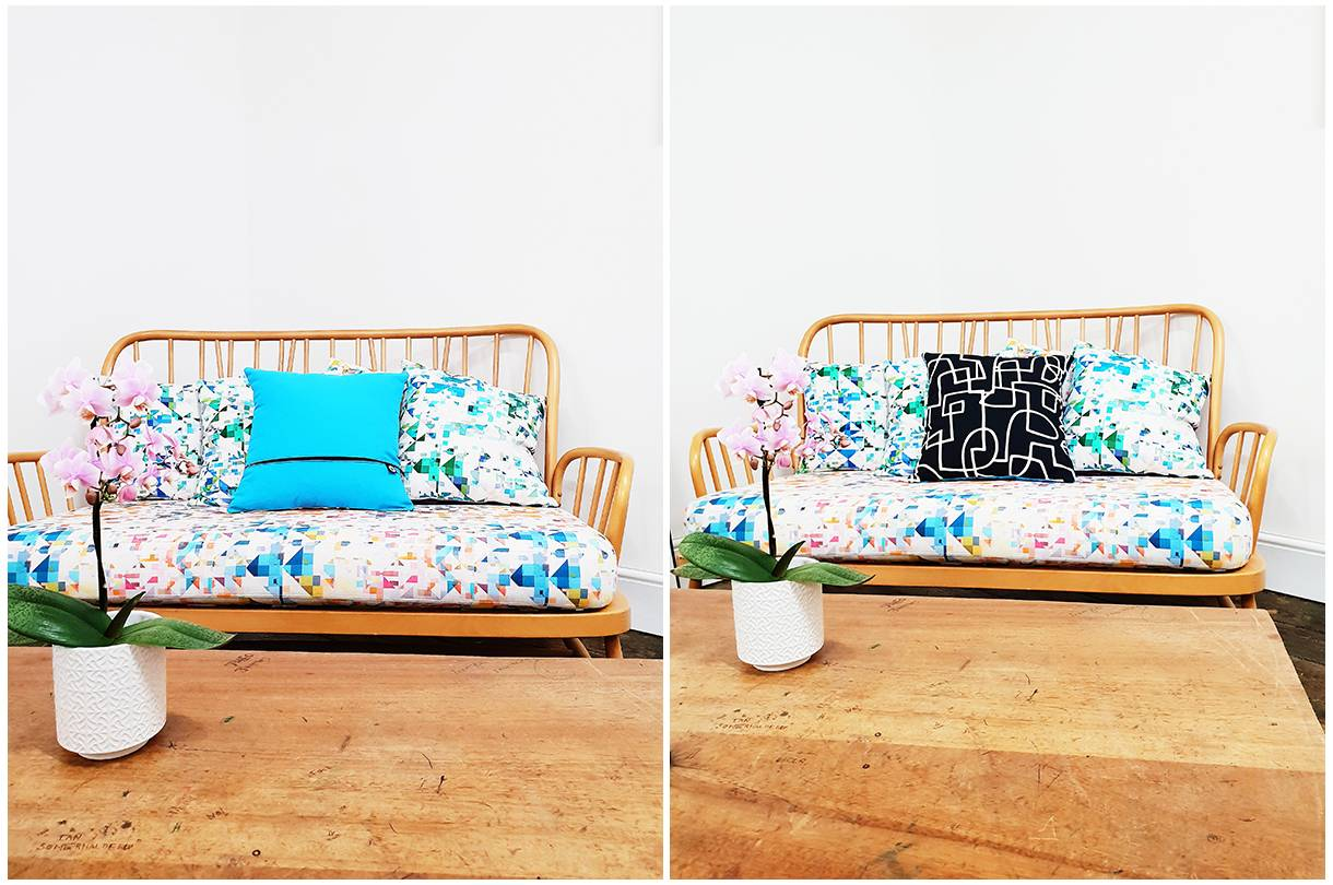 Pink Orchid on a wooden table and handmade cushions on a sofa