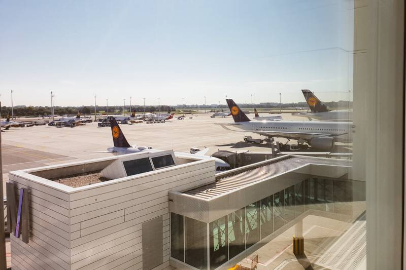 Outside view of Munich with aeroplanes on the tarmac