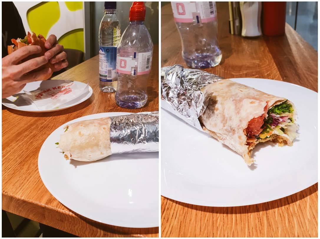 Vegan falafel wrap on a plate