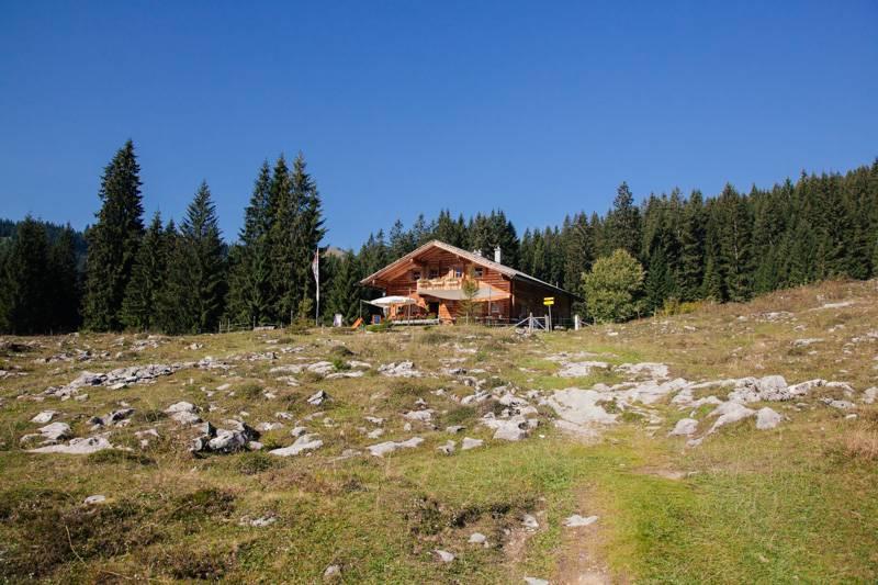 A hut on top of a hill, in front of a forest in Postalm, Austria