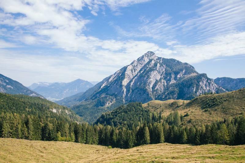 Mountains and trees in Postalm, Austria