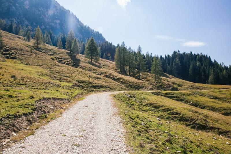 A walking track through mountainside in Postalm, Austria
