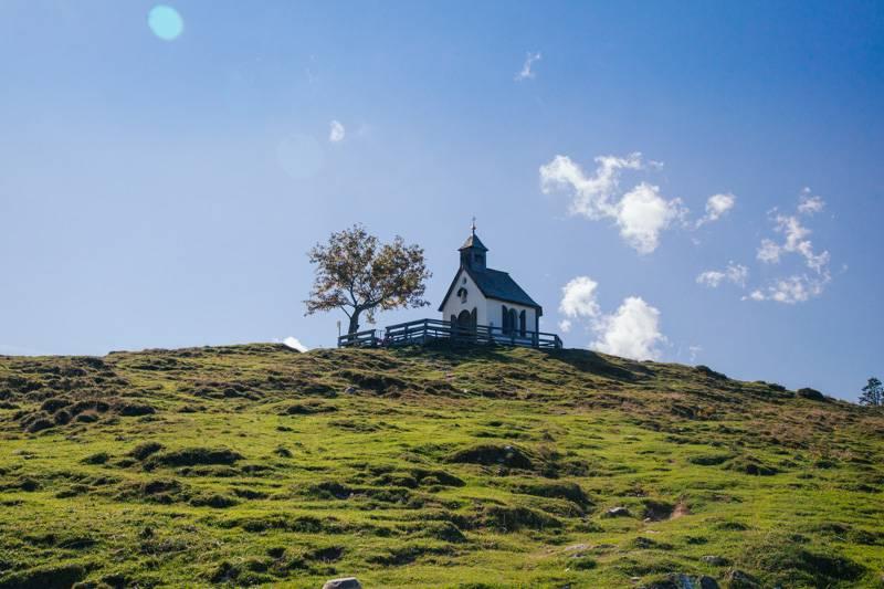 Postalm Historic Chapel, on top of a hill in Postalm, Austria