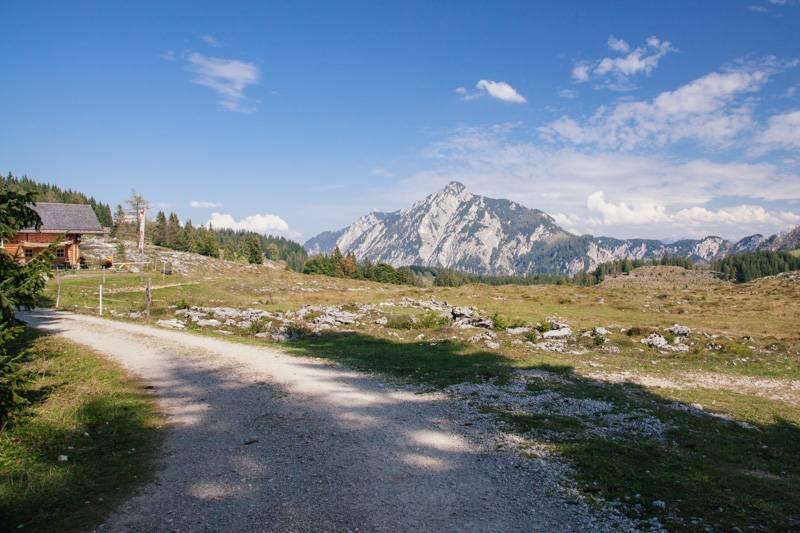 Mountains, blue sky and rocky hillside in Postalm, Austria
