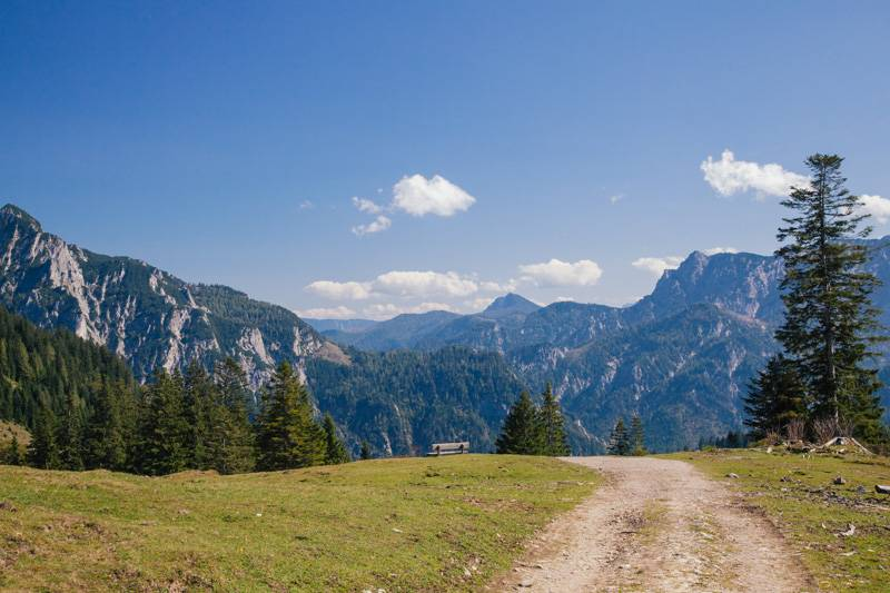 A track leading to a bench, with a view of the mountains in Postalm, Austria