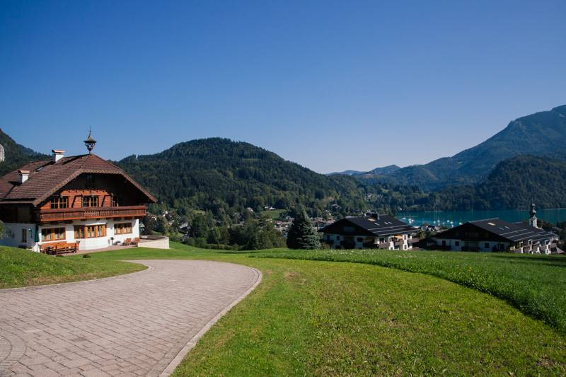 Traditional Austrian house overlooking Lake Wolfgang in Austria