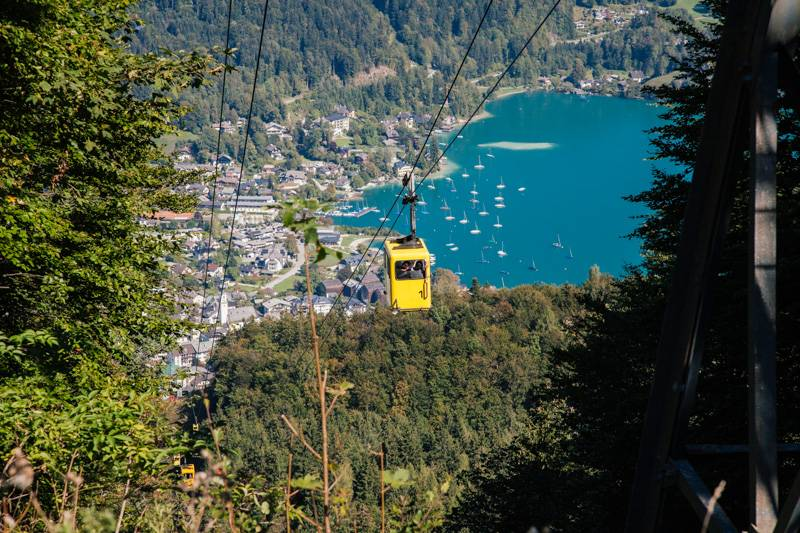 Cable car travelling up Zwölferhorn mountain in St. Gilgen, Austria