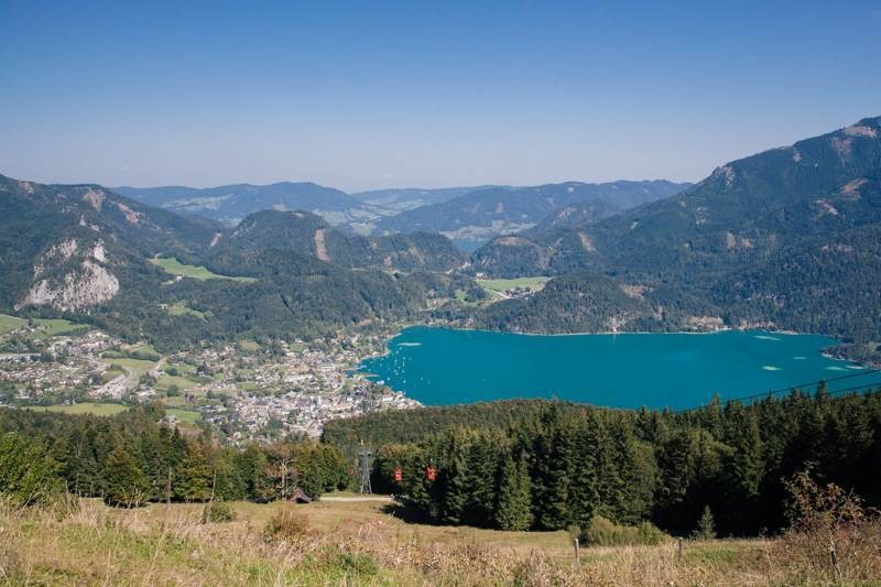 View of Wolfgangsee from Zwölferhorn mountain in Austria