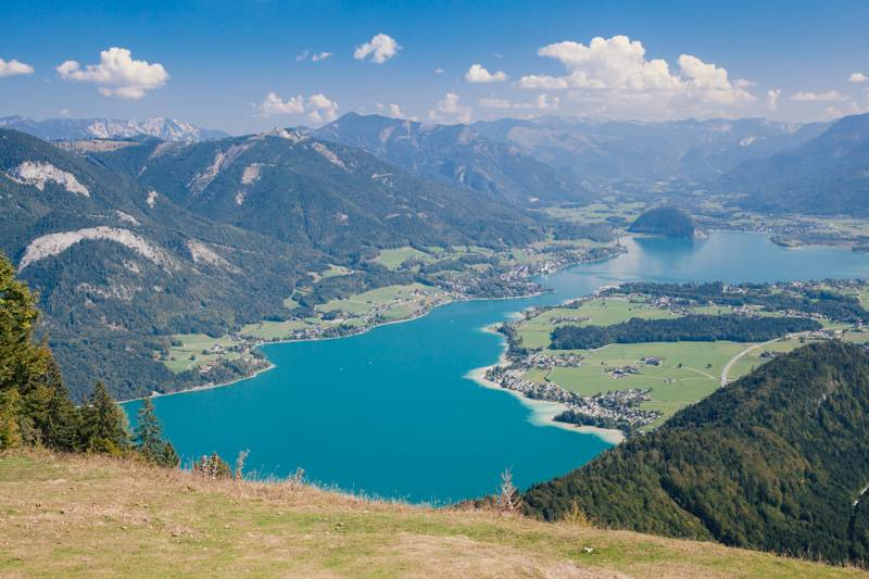 View of Lake Wolfgang from Zwölferhorn mountain