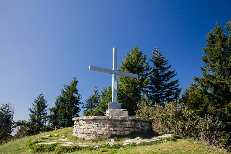 Pillstein cross on top on Zwölferhorn mountain