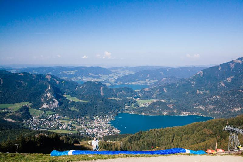 Looking down on St. Gilgen from the top of Zwölferhorn mountain, Austria