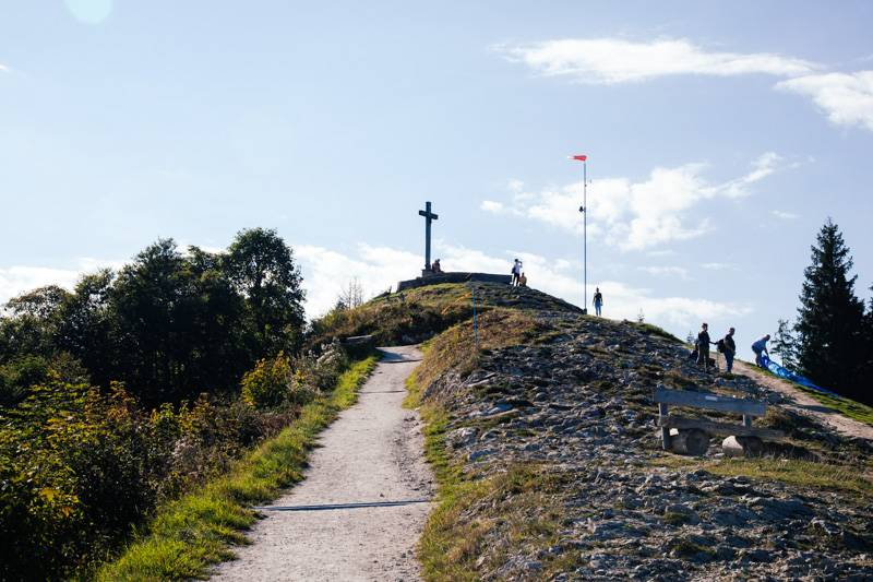 View of the cross at the summit of Zwölferhorn mountain, Austria