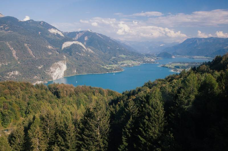View of Wolfgangsee from a cable car, travelling down Zwölferhorn mountain, Austria