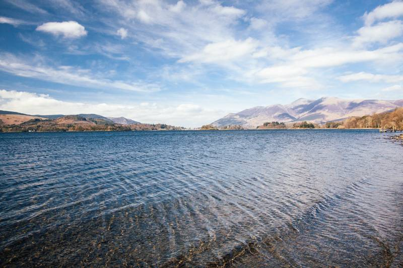 Blue sky and clouds above Derwent Water in the Lake District, with fells in the background