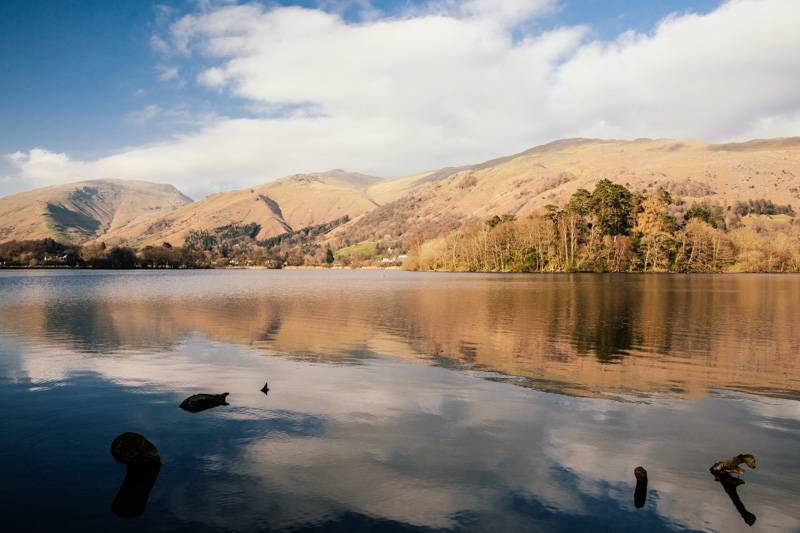 View of Grasmere water in the Lake District, with fells in the background