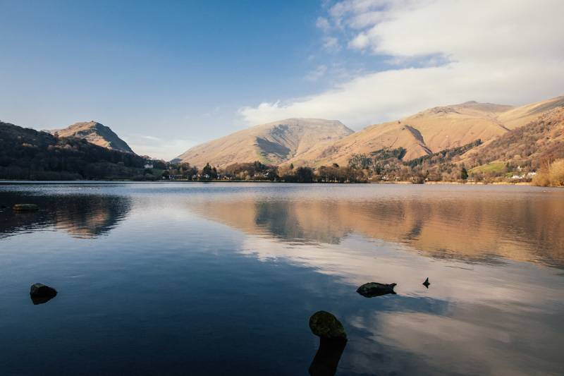 View of Grasmere water, with fells in the background