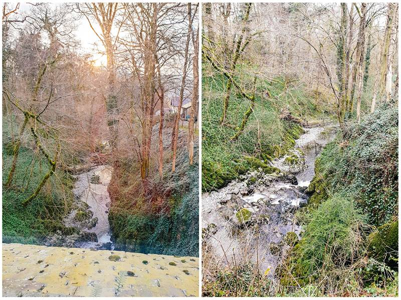 View of Stock Ghyll Force waterfall and woodland