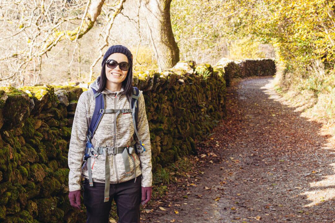 Woman in walking gear