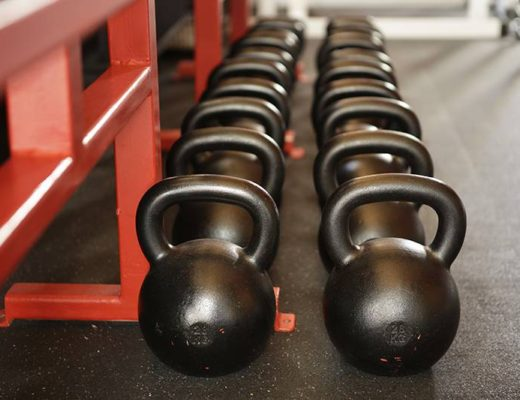 Rows of kettlebells