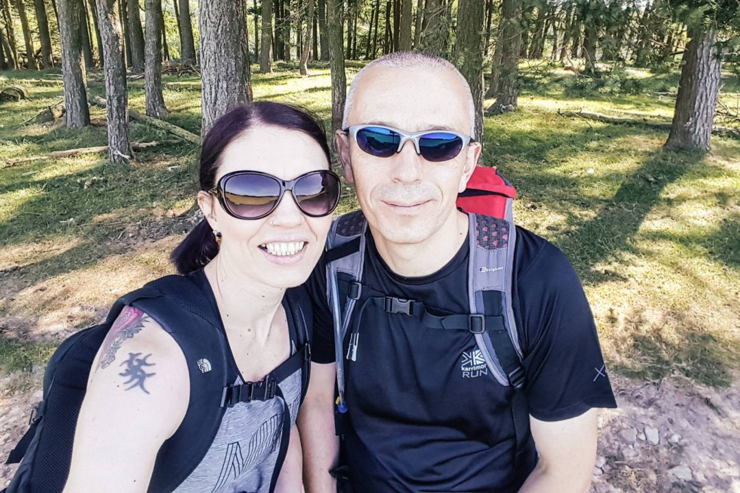 A couple out hiking