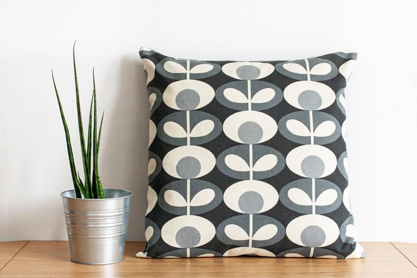 Orla Kiely black and white cushion